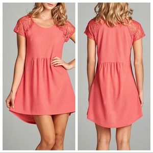 Dresses & Skirts - Coral lace sleeve A-line dress